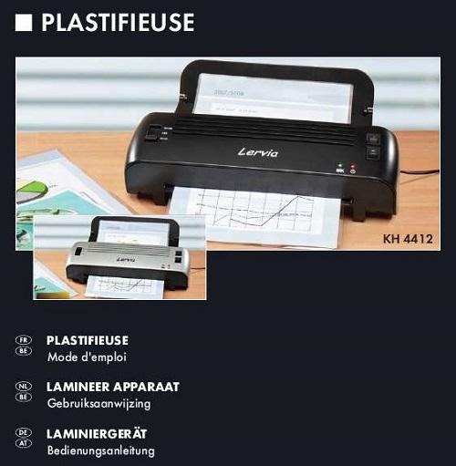 notice d utilisation plastifieuse